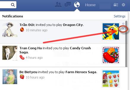 Chặn thư mời chơi game trên Facebook