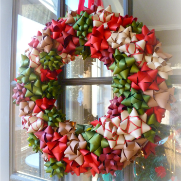 Make a wreath out of Christmas bows