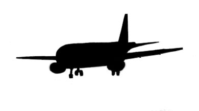 airplane silhouette with wheels