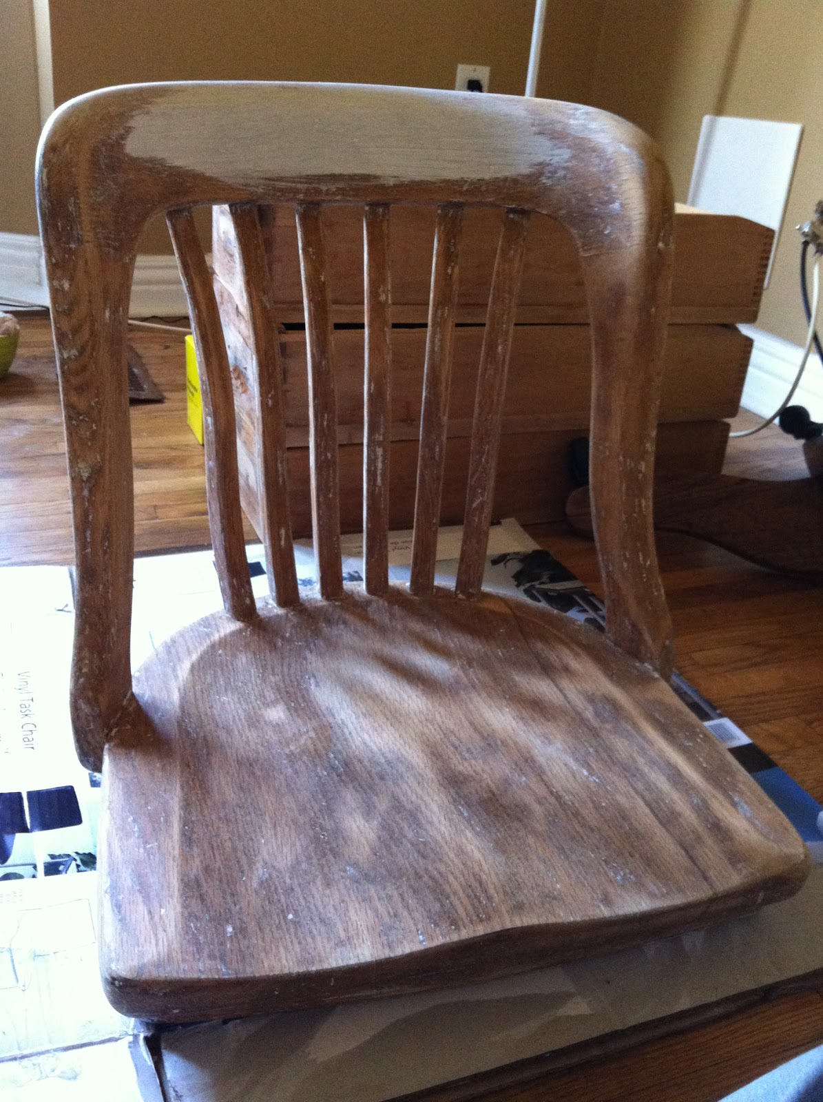 Armless bankers chair - After Spray Painting And Subsequent Stripping