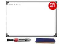 Buy Roger & Moris White Board (large) With Black Luxor Marker & Wooden Duster at Rs.350 : Buytoearn