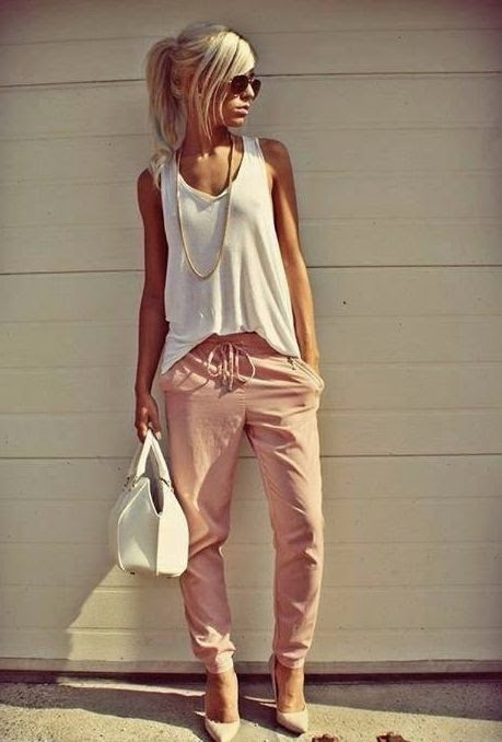 Pink Pants With White Singlet And Handbag