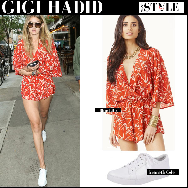 Gigi Hadid in orange print Blue Life romper and white sneakers Kenneth Cole Wild streetstyle 2015