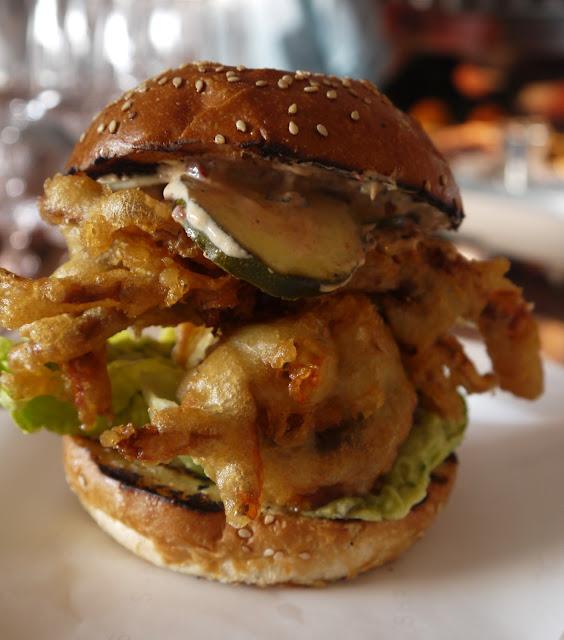 Soft shell crab burger, avocado