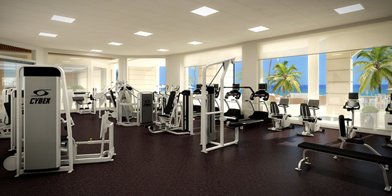 The gym at this luxury condo development