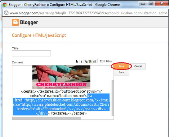 How to make the textbox area below a blog button