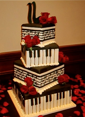 Cake Design Un Piano : Three Colors, Black Red and White Wedding Cakes / Wedding ...