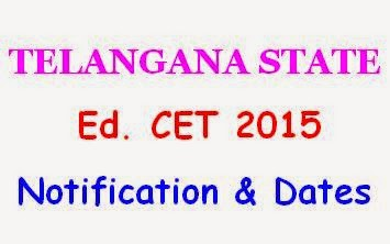 TS Ed.CET 2015 Notification Important Dates