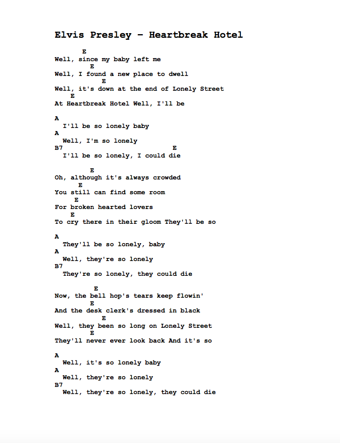 Guitar Tabs Tabs And Song Sheets For Heartbreak Hotel As Recorded