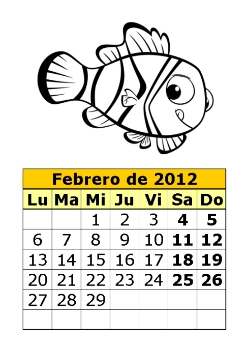 Calendario de Nemo para colorear de 2012 (1ª parte) : Calendarios ...