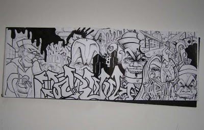 Graffiti_Mural_Sketches_Black_and_White_Themes_on_wall