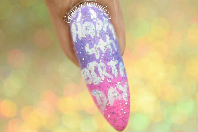 Happy 4th Birthday Nail Art