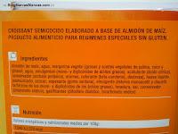 Ingredientes de los croissants sin gluten de Carrefour.
