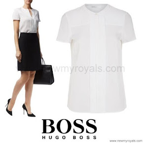 Crown Princess Mary of Denmark Style HUGO BOSS Pleated Silk Shirt
