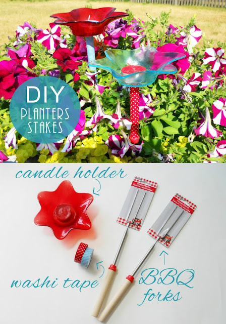 What do you get when you cross a bbq fork with a roll of washi tape?  Why, of course DIY Plant Stakes, silly!