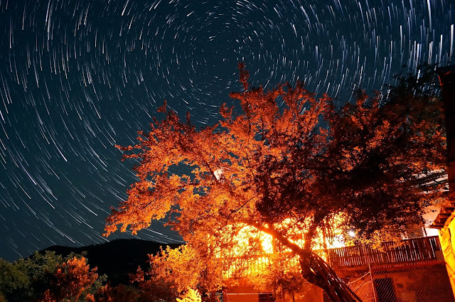 night sky with star trails