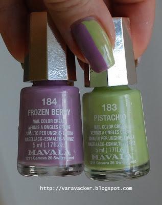 naglar, nails, nagellack, nail polish, mavala, lilac, green, nail art, side by side, nail art sunday