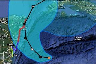 Position und erwarteter Verlauf Hurrikan RINA vom 25. Oktober 2011 abends UTC, Live Ticker Hurrikan RINA: Wahrscheinlich als Major Hurricane nach Playa del Carmen & Cancún (Riviera Maya) und Westkuba, 2011, aktuell, Atlantik, Belize, Fluglinie airline Flug gecancelt, Hurrikansaison 2011, Oktober, Playa del Carmen, Rina, Riviera Maya, Verlauf, Vorhersage Forecast Prognose, Yucatán, Zugbahn,