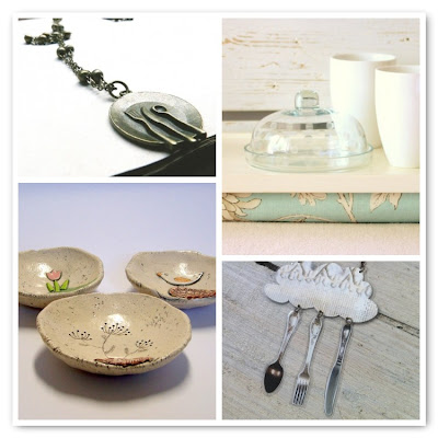 moodboard collage of ceramic dishes and silverwear cutlery jewelry
