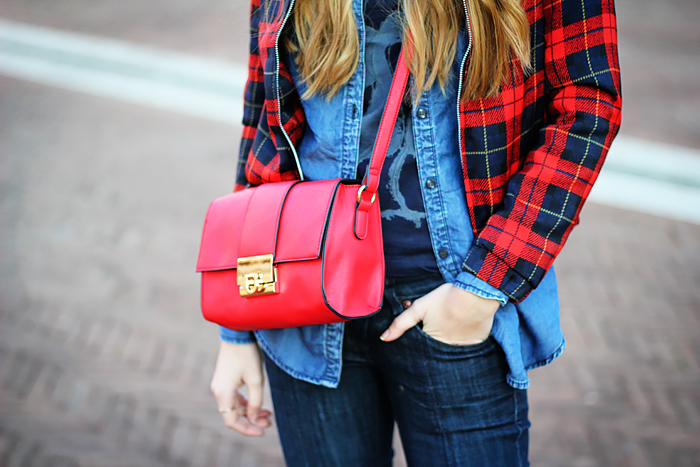 denim on denim, tartan bomber jacket, red crossbody bag, outfit