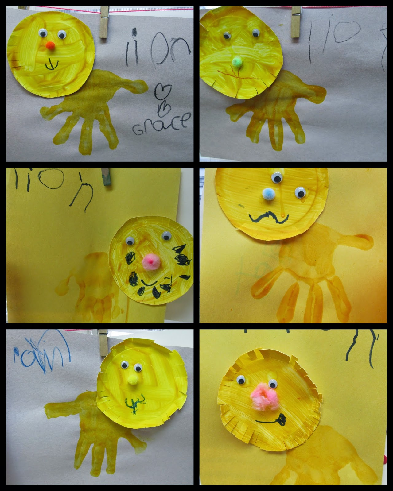 Lions from Paper Plates and Painted Hand Print at RainbowsWithinReach
