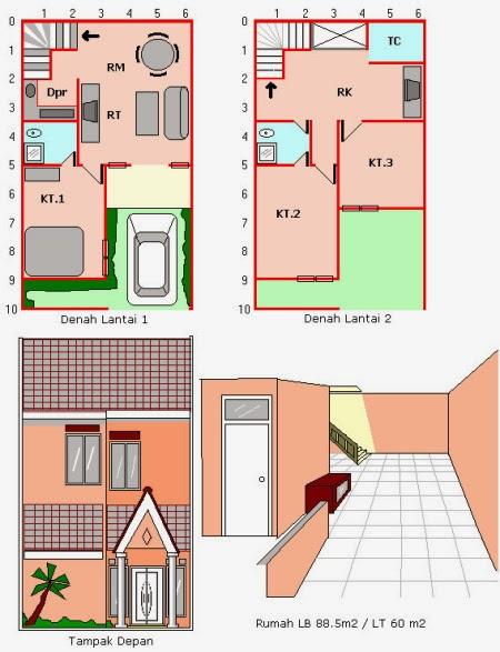Desain Rumah Minimalis 2 Lantai Luas Tanah 60M2