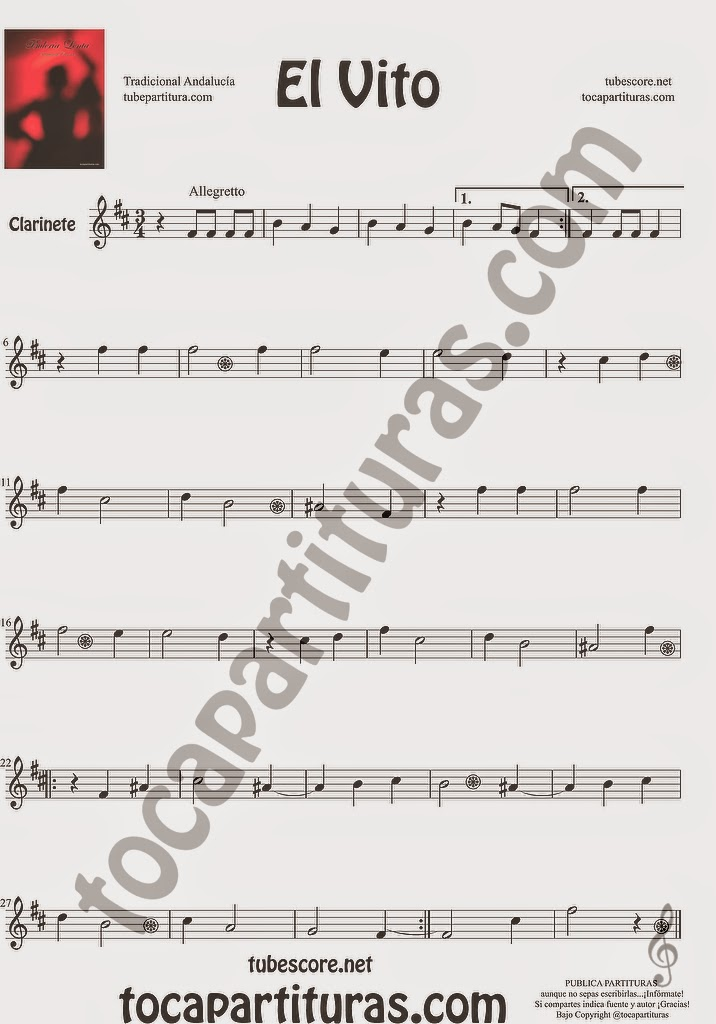 El Vito Partitura de Clarinete Sheet Music for Clarinet Music Score