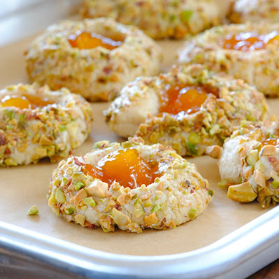 JULES FOOD...: Apricot Cardamom Thumbprints with Pistachio and crushed ...