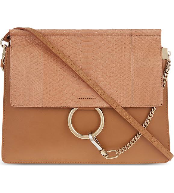 chloe faye brown bag, chloe faye python bag,