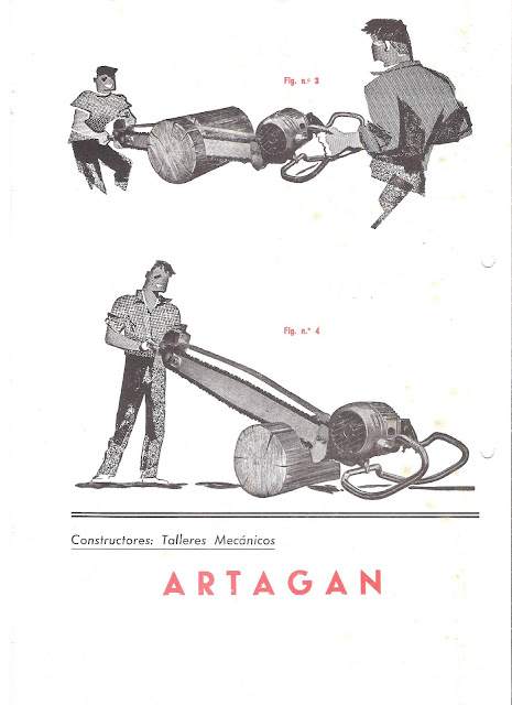 "Folleto publicitario de la motosierra eléctrica ARTAGAN E - Vintage Advertising  ARTAGAN ""E"" electric Chainsaw"
