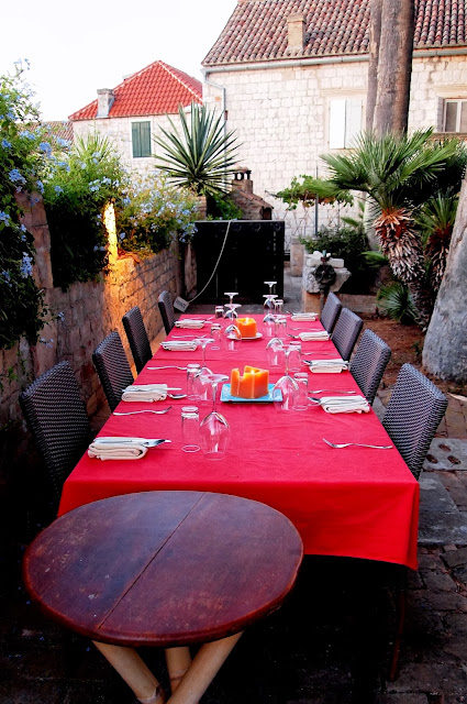 Our dining table at garden restaurant Pojoda, Vis, Croatia