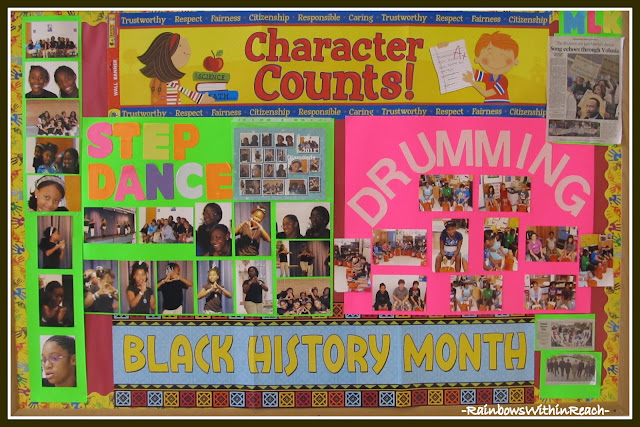 photo of: Bulletin Board for Black History Month (from Bulletin Board RoundUP via RainbowsWithinReach)
