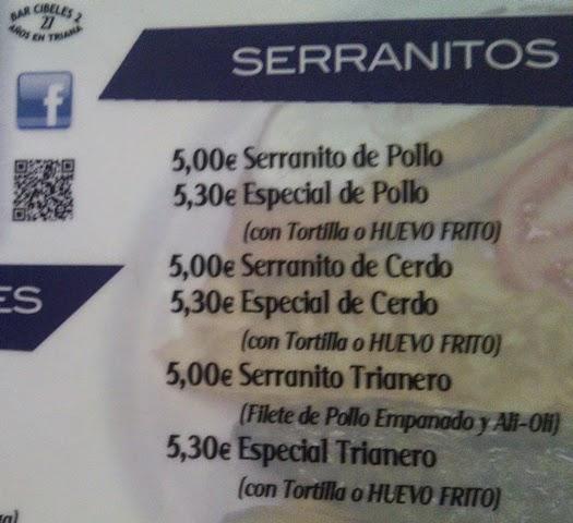 Precio Bar Cibeles 2, Serranito Advisor