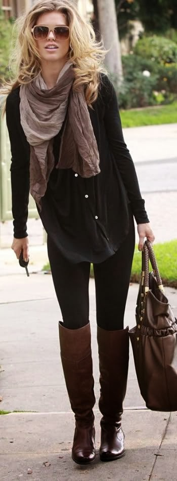 Black Long Sweater with Amazing Scarf and Black Legging, Brown Long Boots and Suitable Handbag