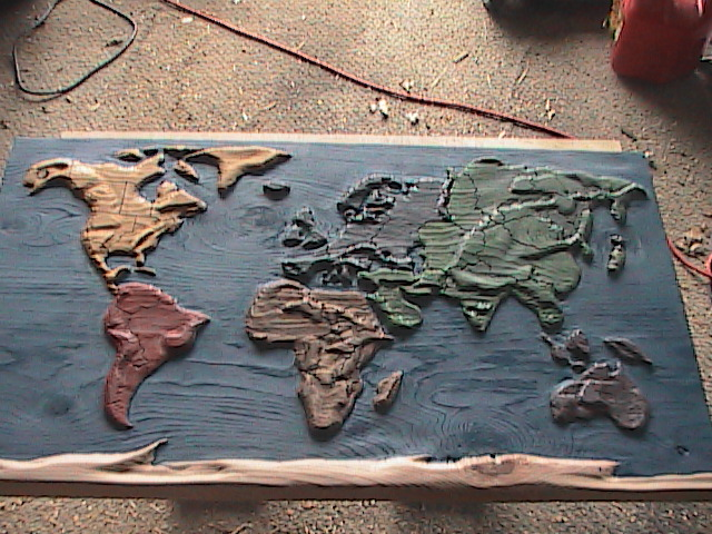This Picture Also Shows The Lines Between The Countries Which I Drew On Free Handed And Then Used A Metal Dowel With A Washer On The End And A Hammer To