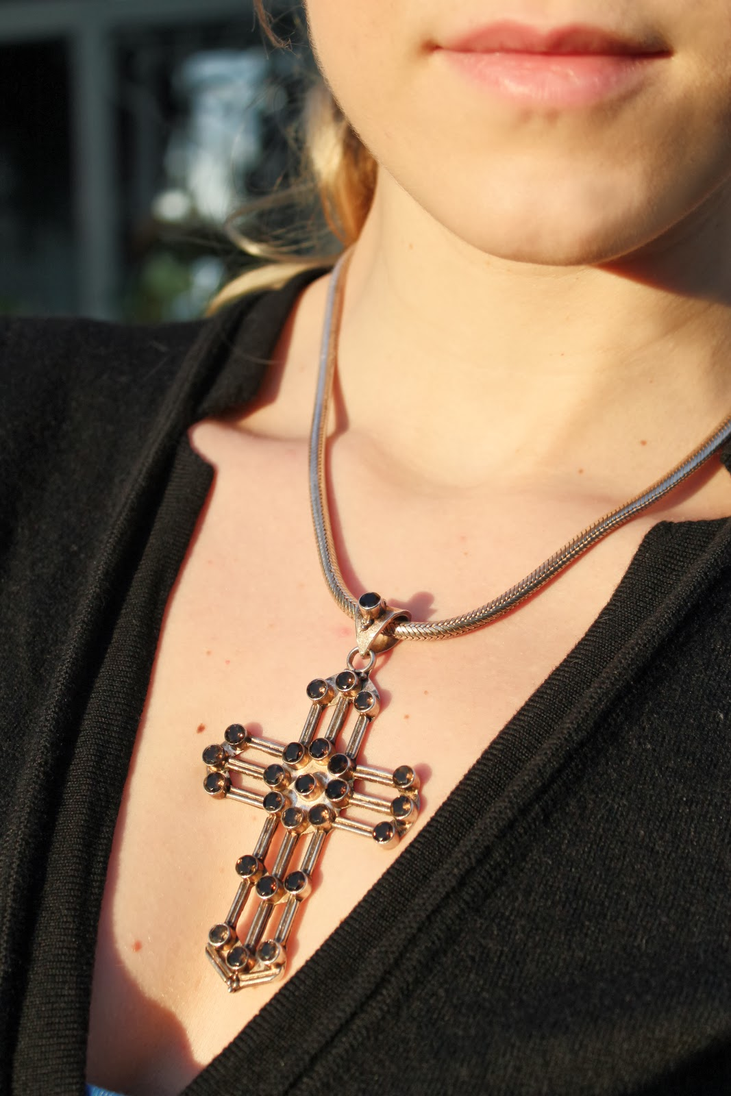 cross pendant with sapphires, brown sapphires