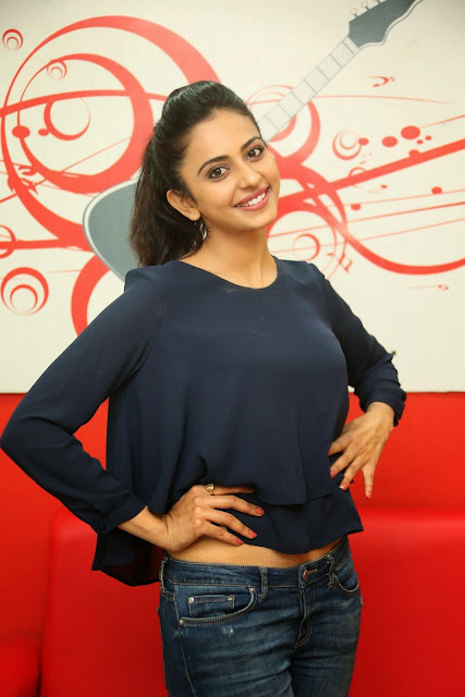 Actress Rakul Preet Singh Pictures in Jeans Gallery at Big FM 8.JPG