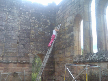 Kim being very brave helping to measure the 6 x 250UB 37 steel beams to support the upper floor