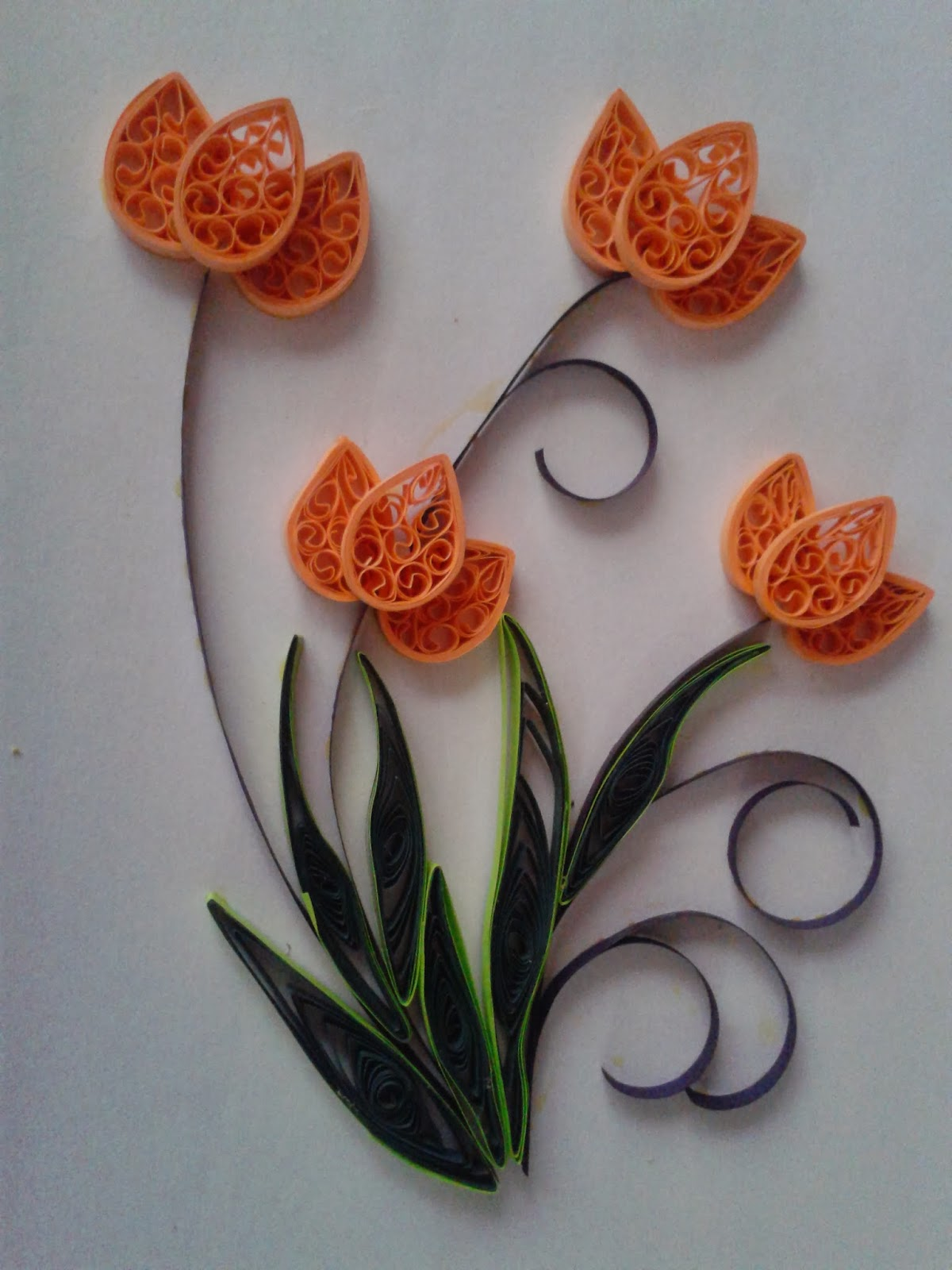 Paper Craft And Quilling Quilled Tulip Flowers