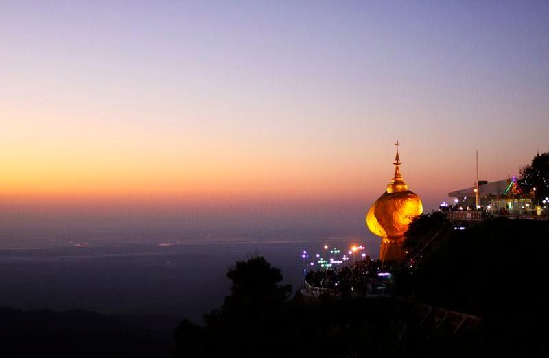 """""""Golden rock pagoda"""", Burma (Myanmar)."""