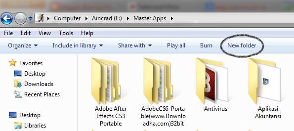 membuat folder baru dengan mouse