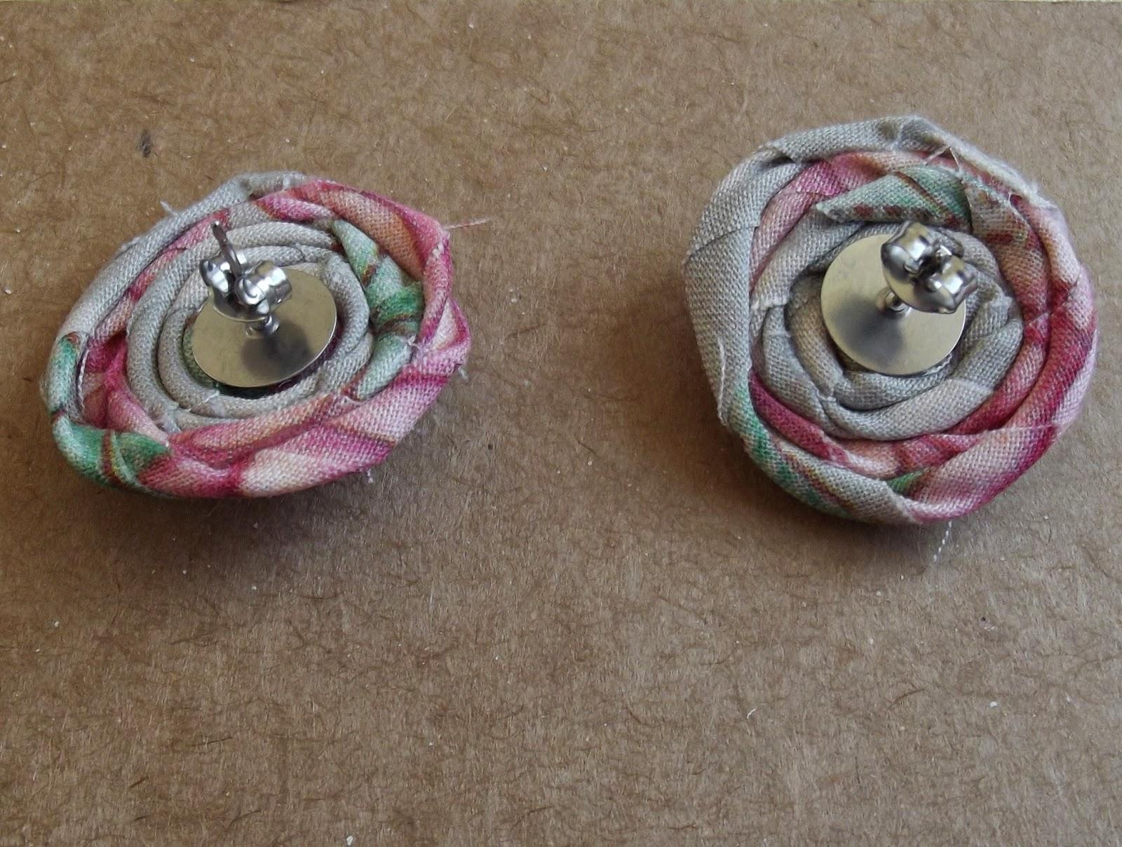 rag rolled rose stud earring tutorial step 8