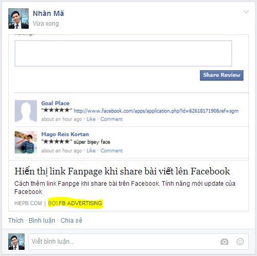 Cách thêm link Fanpge khi share bài trên Facebook. Tính năng mới update của Facebook