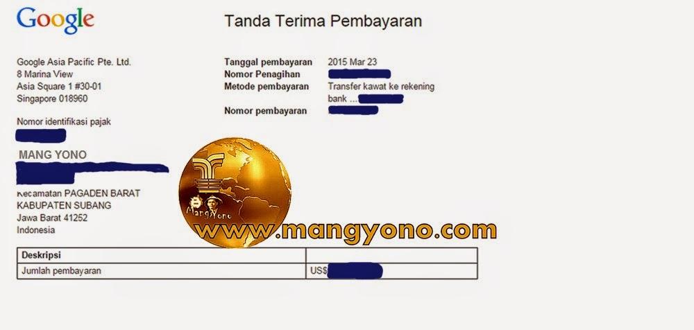Ini bukti pengiriman dari Google Adsense ke Rekening Bank melalui Transfer Kawat.