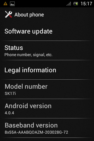 Ice Cream Sandwich Xperia Mini Pro