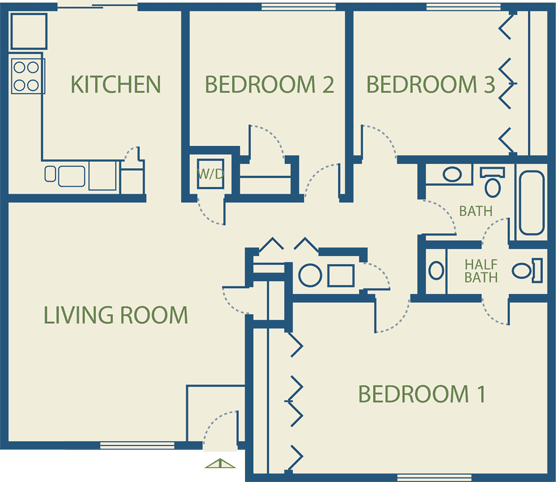 Apartment plans - Detailed three bedroom flat ...