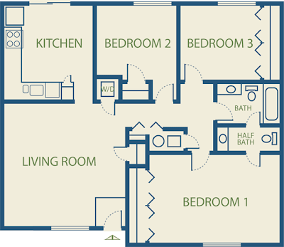 Apartment plans for Three bedroom flat floor plan