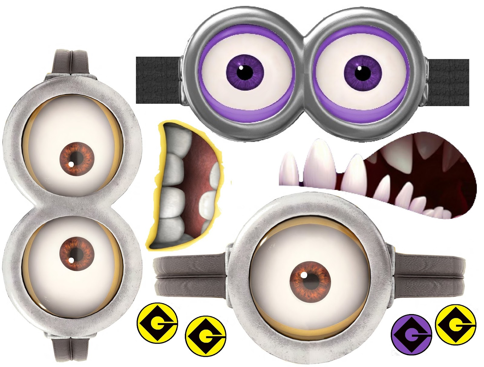Punchy image throughout minion eye printable