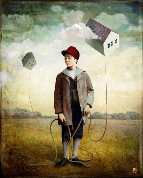Christian Schloe ilustração digital surreal onírica sonhos Um sonho de criança