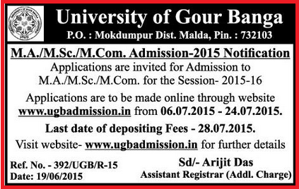 ugbadmission.in | Malda Gour Banga University M.A/M.Sc/M.com Post Graduate-PG Courses Online Admission Session 2015-16